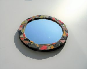 Miroir rond en mosaique