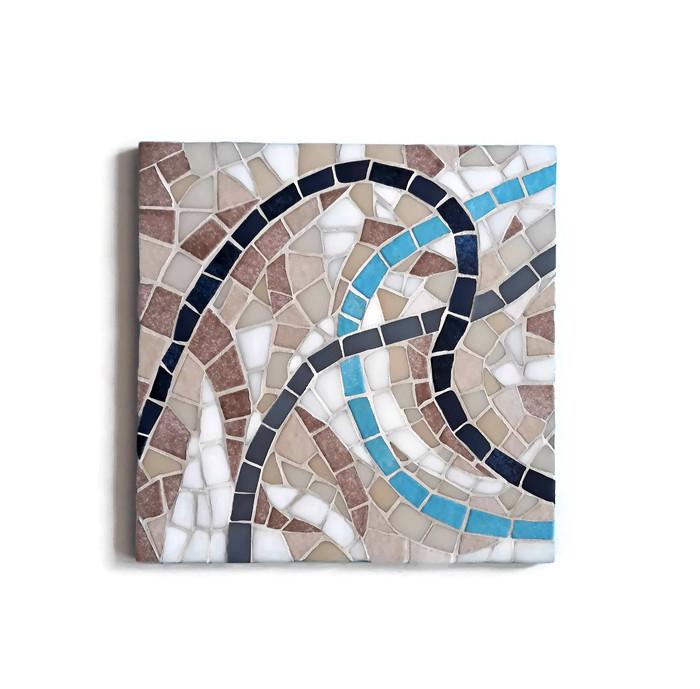 dessous de plat en mosaique bleu style antique