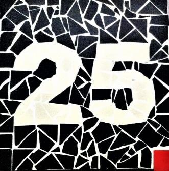 Plaque de numéro de maison en grès cérame noir , blanc et rouge
