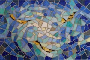 Dessous de plat en mosaïque poissons jaunes